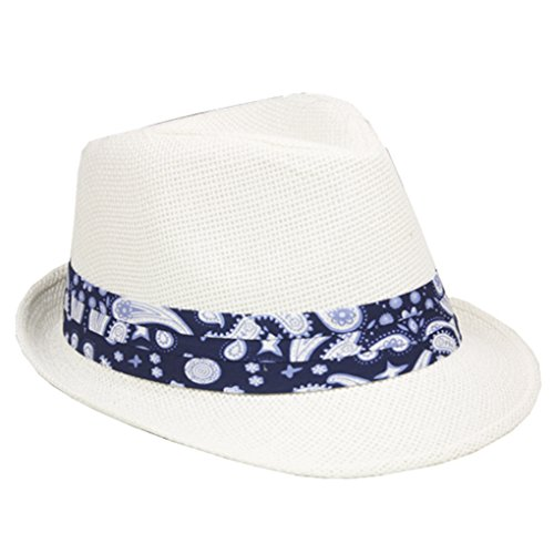 (Silver Fever Thin Brimmed Woven Fedora Hat (Blu/White Printed Pattern))