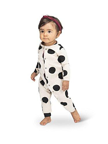Colored Organics Baby Unisex Peyton Long Sleeve Organic Sleeper - Heather Oat/Black Polka Dot - 12-18M (Dot Baby Polka)
