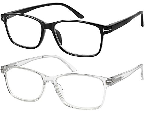 Computer Glasses 2 Pairs Anti Glare Anti Reflection Classic Reading Glasses Quality Comfort Glasses for Men and Women +0