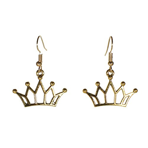 Luxury Goldtone Crown Dangle Earrings Royal Queen Jewelry (Crown)