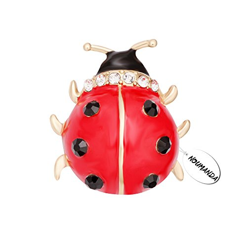 NOUMANDA Lovely Red Enamel Ladybug Brooch Pin (Ladybug Fashion Pin)