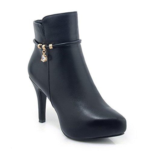 Boots Platform Solid Black BalaMasa Microfiber Womens Toe Pointed anxq7PS