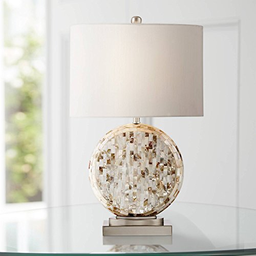 Tracey Coastal Accent Table Lamp Round Mother of Pearl Tiles Off White Oval Shade for Living Room Family Bedroom Bedside - 360 Lighting (Pearl Lamp Shade Mother Of)