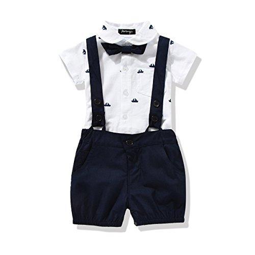 - FERENYI US Baby Boys Bowtie Gentleman Romper Jumpsuit Overalls Rompers (19-24 Months, Navy Blue)