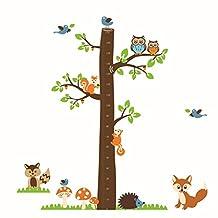 Fange Large DIY Removable Owls Foxs Squirrels Hedgehog Forest Animals Growth Chart Measurement Art Mural Vinyl Waterproof Wall Stickers Kids Room Decor Nursery Decal Sticker Wallpaper 72.8''x71.7''