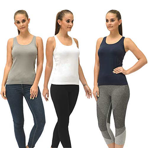 Workout Tank Tops for Women, Running Yoga Seamless Racerback Tanks, Base Layer Ladies Tops Pack of 3(Assorted Colors)