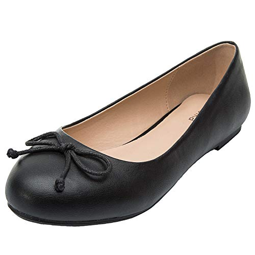 Luoika Women's Wide Width Flat Shoes - Comfortable Slip On Round Toe Ballet Flats.(180338 Black,11.5WW) ()