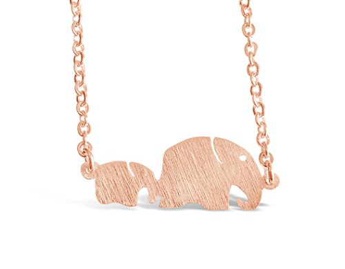 """(Rosa Vila Mom and Baby Elephant Necklace, Elephant Gifts Jewelry for Women and Girls, Animal Jewelry for Big Sister, New Grandmother Necklace, New Mom Jewelry, 17"""" Chain (Rose Gold Tone))"""