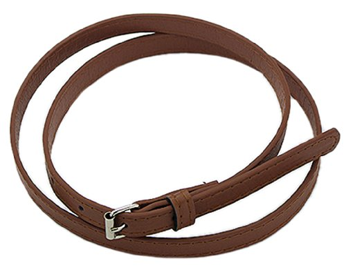 Ladies Slim Belt - BONAMART Women Ladies Brown PU Leather Skinny Slim Belt 100cm, with Metal Buckle