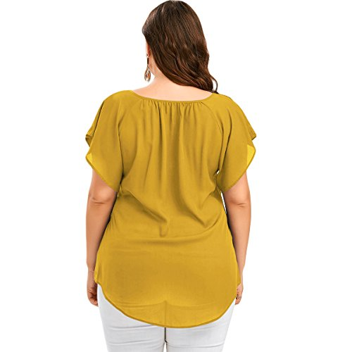 Femme Courtes vintageTop T Manches Grande V Gilet Huyizhi Lace shirt Yellow Blouse Femme Taille Col wqRaYCU