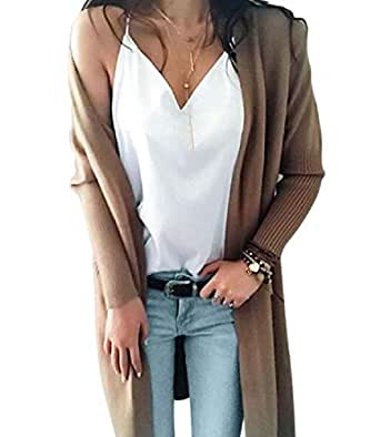 Womens Knitted Cardigan Loose Solid Open Front Long Sleeve Pocket Sweater Coat Blouse 1 XS