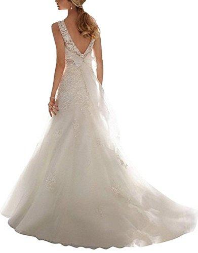 sirena Senza schienale pailletten Bianco JAEDEN Vestito da sposa Pizzo Con da Donnne Abito Lungo Pq8EE6C4w5