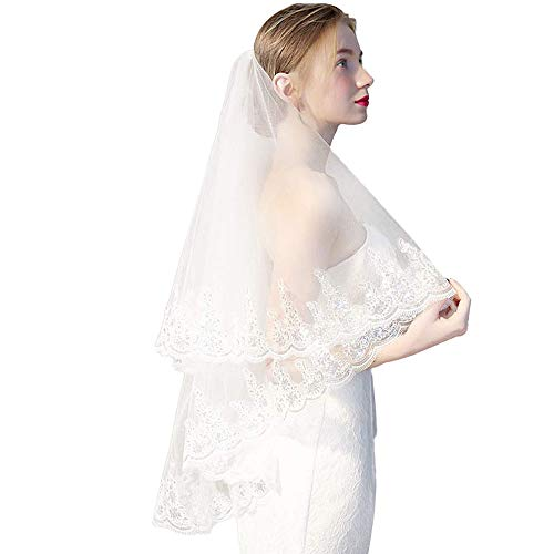 Two Layer Lace Tulle Silver Sequins Bridal Veil Wedding Veil with Comb From Mily Off-White