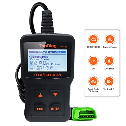 TopDiag Car Code Reader Engine Scan Tool Universal Automotive Diagnostic Tools TP-109 Auto Scanner Suitable for OBD2 Protocol/Standard 16-pin EOBD/CAN Vehicles