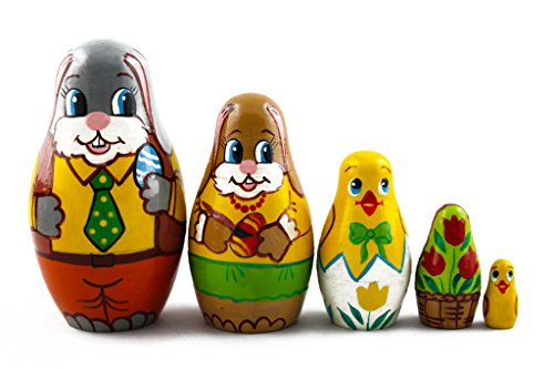 (Matryoshka Matrioska Babuska Russian Nesting Wooden Doll Easter Bunny Eggs Babushka 5 Pcs Stacking Hand Painting Beautiful Nested Matriosjka Matreoska Matreshka Matrjoska Matroeska)