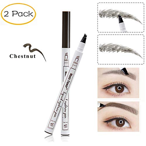 (AnewGeek 3 Colors Microblading Eyebrow Tattoo Pen Tint Natural Long Lasting Tattoo Eyebrow Waterproof Brown Eyebrow Pencil for Eyes Makeup (2PCS Chestnut))