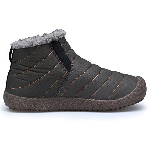 Caviglia Caldo Stivaletti Outdoor grigio2 Scarpe DAFENP Stivali Piatto Uomo Botas Invernali Swx07Of