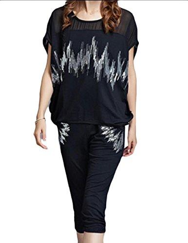 Coolred-Women Plus-Size Sequin Glitter Dolman Sport Sweat Suit Set Black 3XL