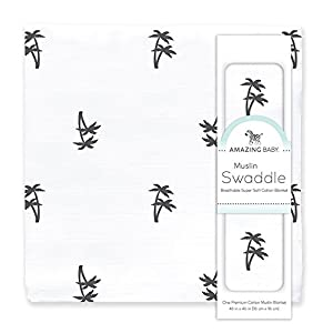 Ratings and reviews for Amazing Baby Muslin Swaddle Blanket, Premium Cotton, Palm Trees, Black