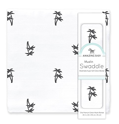 Amazing Baby Muslin Swaddle Blanket, Premium Cotton, Palm Trees, Black