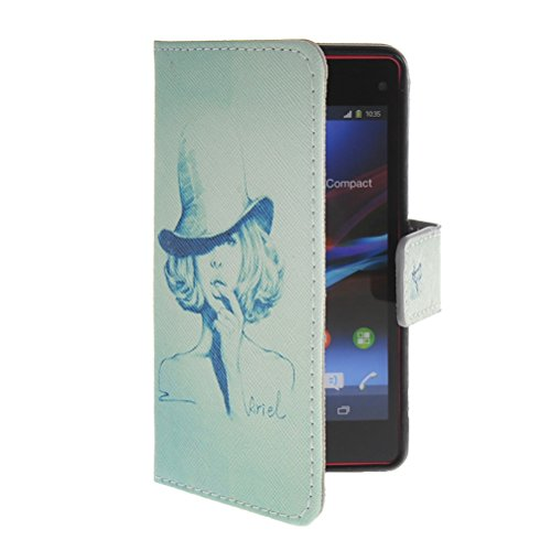 EVERGREENBUYING Pattern Style Leather Side Flip Wallet Card Slot Pouch Stand Shell Back Case Cover For Sony Xperia Z1 Compact (Mini)