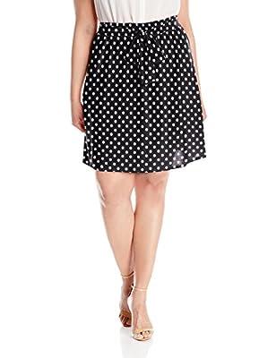Star Vixen Women's Plus-Size Knee-Length Full Skater Skirt with Self-Tie Bow Belt