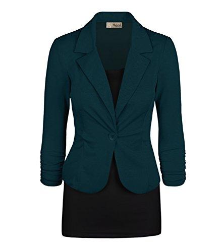 Women's Casual Work Office Blazer Jacket JK1131X Teal 3X Plus