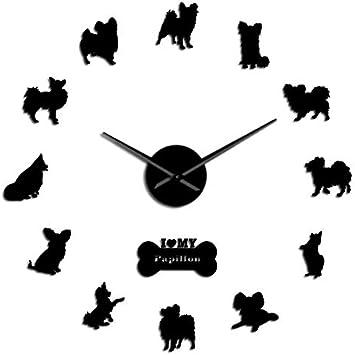 HIDFQY Juguetes Europeos Perro español Papillon Pegatinas de Pared para Perros Reloj de Pared sin Marco Reloj de Pared Moderno Grande Regalos de inauguración para el dueño del Perro 37 Pulgadas Negro