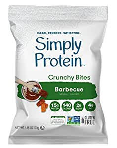 SimplyProtein Protein Chips (Barbecue). Crunchy Vegan Chips made with Plant-Based Pea Protein (12 Total Bags).
