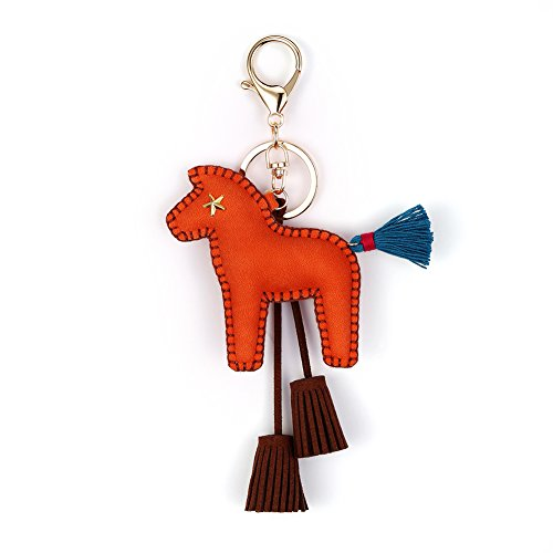 Horse Key Ring Chain, Nikang Handmade Leather Key Holder Metal Chain Charm With Tassels, Tassel Key Chain, Handbag Accessories, Purse Pendant, Fashion Item, Car Key Chain, Idea for Woman, Red (Handmade Key Leather Ring)
