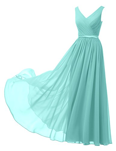 Alicepub V-Neck Chiffon Bridesmaid Dress Long Party Prom Evening Dress Sleeveless, Tiffany, US4
