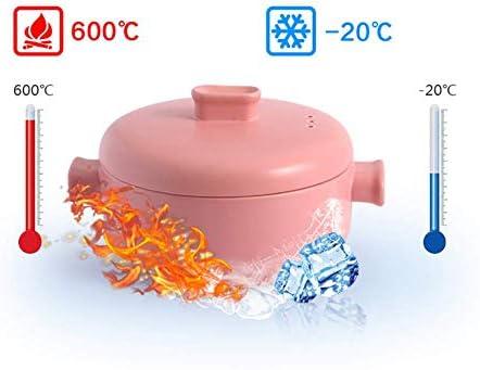LEILEI Casserole en céramique avec Couvercle Vapeur et Double poignée empilable Pot en Terre résistant à la Chaleur ustensiles de Cuisine sains Noir 1.58 Quart