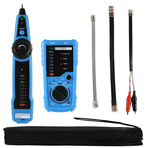 (Wire Tracker RJ11 RJ45 Cable Toner Line Finder Multifunction Wire Tracer Ethernet LAN Network Cable Collation Telephone Line Tester Continuity Checking with RJ11 Adapter, Toolkit, eBook)