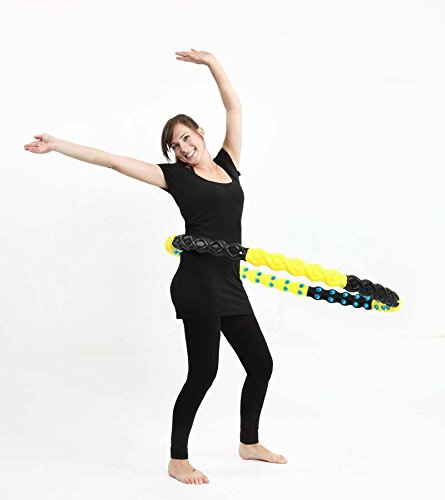 Wide Hula Hoop with Massage Balls Double Magnetic Balls Exercise Fitness Workout Abdominal 8 Pcs Pipe Yellow Black