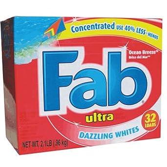Fab detergente polvo, Ocean Breeze, 2.1lb caja – cuatro cajas de ...