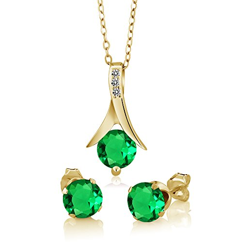 2.36Ct Simulated Emerald White Diamond 18K Yellow Gold Plated Silver Jewelry (Diamond Emerald Jewelry Set)