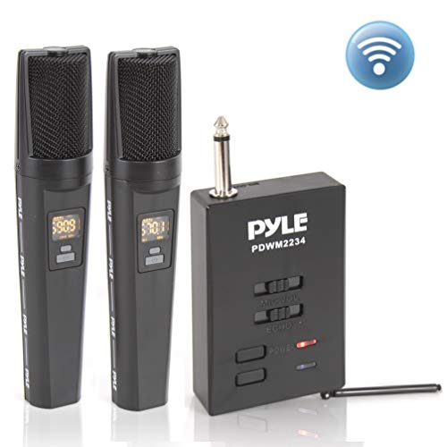 Portable Dual Wireless Microphone System | Rechargeable Battery, Easy Carry Mic & Receiver Set - Included 2 Handheld Transmitter, 1 Receiver, ¼ Plug for PA Karaoke - Pyle PDWM2234 (Black)