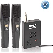 Bluetooth UHF Wireless Microphone System - Dual Rechargeable Mic Receiver Set - 2 Handheld Transmitter Mics, Receiver Base, USB/Audio Cable, Adapter - PA Karaoke Dj Party - Pyle PDWM2234 (Black)