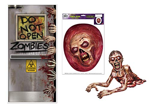 Zombie Bathroom Halloween Décor Bundle | Includes Door Cover, Jointed Zombie, and Zombie Head Toilet Topper ()