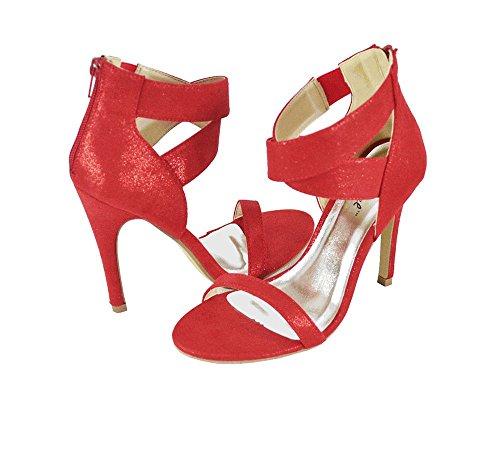CrissCross Zipper Lupid Stiletto Back Red Womens Band Shoe Bonnibel Dress Sandals EFRngqawxX