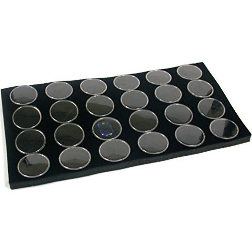 FindingKing 24 Black Foam Gem Jars Gemstone Storage Display Tray Insert