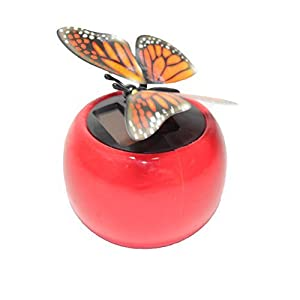 a flip flap wings dancing butterfly flying in a red pot - bobble plant solar toy - 418Gw8w4r7L - A Flip Flap Wings Dancing Butterfly Flying in a Red Pot – Bobble Plant Solar Toy