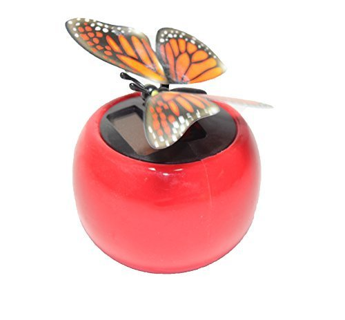 - A Flip Flap Wings Dancing Butterfly Flying in a Red Pot - Bobble Plant Solar Toy