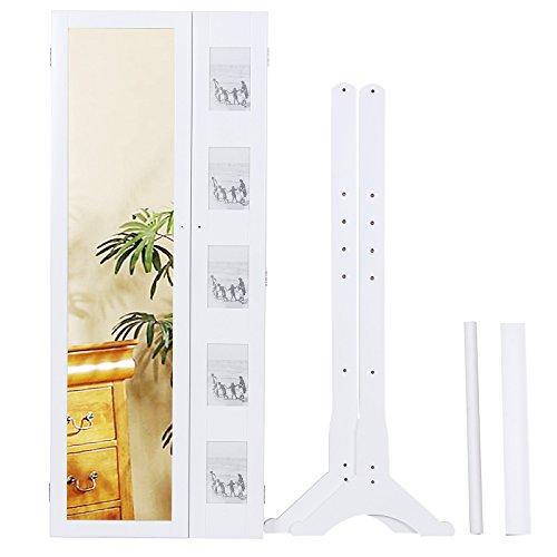 Songmics 154 x 53 x 38 cm Schmuckschrank Spiegelschrank mit galerie bilderrahmen Weiß JBC27W - 7