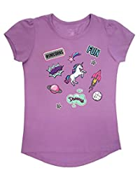 Novel Teez Designs - Girl's Unicorn Short Sleeve Shirt with Puff Shoulders, Lilac