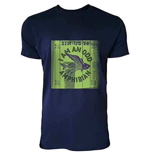 SINUS ART® Fliegender Fisch mit rotem Hintergrund Herren T-Shirts in Navy Blau Fun Shirt mit tollen Aufdruck