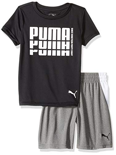 PUMA Little Boys' T-Shirt & Short Set, Black, 6