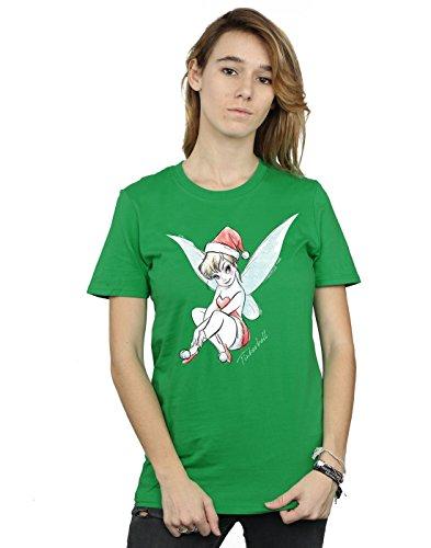 - Disney Women's Tinkerbell Christmas Fairy Boyfriend Fit T-Shirt Medium Irish Green
