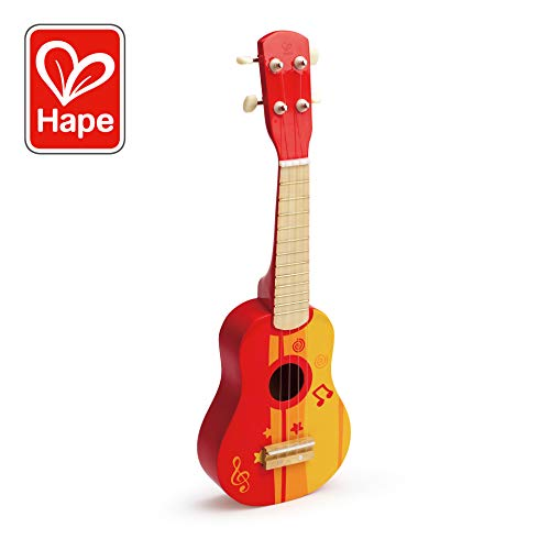 Hape Kid's Wooden Toy Ukulele in Red -
