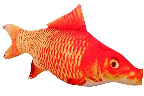 Realistic Stuffed Fish toy with Organic Catnip and Cotton- washable (Large, Koi)